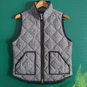 J. Crew Herringbone Puffer Zip Vest With Pockets